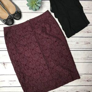 {Halogen} sz 6 merlot lace overlay pencil skirt